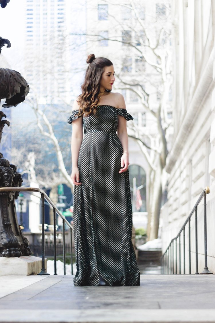 Polka Dot Maxi Dress Beach Hat How To Afford Living In NYC Esther Santer Fashion Blog NYC Street Style Blogger Outfit OOTD Trendy Topknot Girl Women Feminine Summer Look Cold Shoulder New York City Chokers Ela Rae Jewelry Accessories Lulus Giovannio.jpg